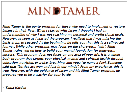 Testimonials for mindtamer mental training